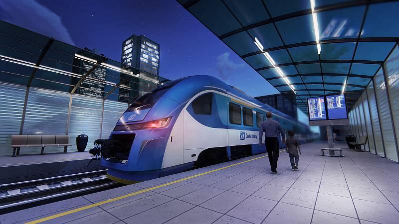 Takové vlaky od polského výrobce Pesa Bydhošť budou jezdit v Královéhradeckém kraji od roku 2024.