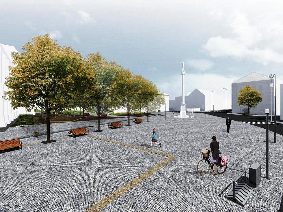NOVÁ PODOBA. Na náměstí Míru ve Vrchlabí se změní trasa silnice, poloha parkoviště a místo morového sloupu.