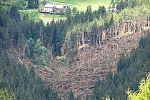 V Peci pod Sněžkou lokální bouře, připomínající situaci před dvaceti lety, strhla ve středu večer 22. června střechy několika penzionů a vyvracela i stromy s kořeny.