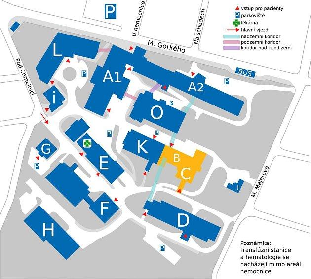 Mapa areálu trutnovské nemocnice.