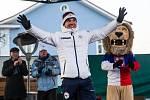 Olympijský medailista v biatlonu Michal Krčmář a Eva Samková dorazili do Vrchlabí oslavit stříbrnou a bronzovou medily.Po návratu ze zimních olympijských her v korejském Pchjongčchangu.