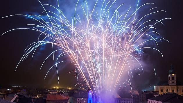 Silvestrovský ohňostroj v Trutnově