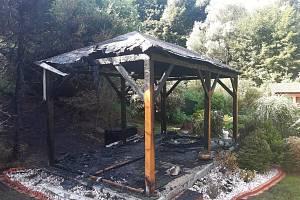Ve Starých Bukách hořel přístřešek vířivky