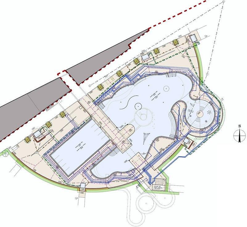 Nákres koupaliště v nerezu. K drobným změnám patří zvětšení vodní plochy a propojen dětského bazénu s lagunou.