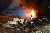 Požár rekreační chaty v Horní Malé Úpě