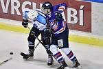 Z duelu Vrchlabí - Děčín (5:2), první zápas úvodního kola play-off druhé ligy.