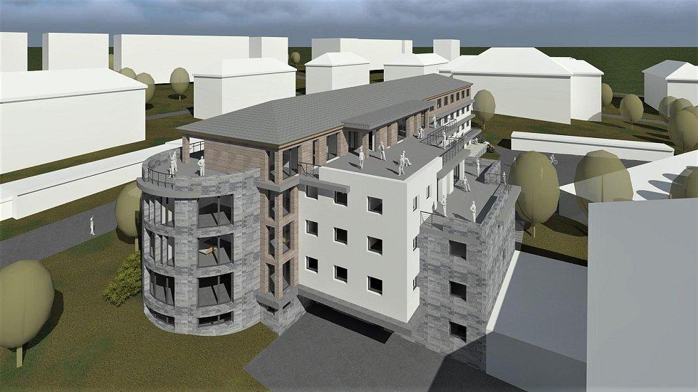 Vizualizace domova důchodců, který postaví Královéhradecký kraj na místě bývalého hornického učiliště v Žacléři.