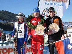 MARTIN ČÍŽEK (uprostřed) vybojoval prvenství na prestižních mezinárodních závodech Trofeo Topollino.