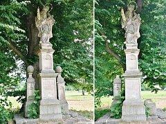 OZDOBNÉ ŠIŠKY zmizely v minulých dnech od sochy sv. Jana Nepomuckého v Mladých Bukách. Pachatel tím  způsobil desetitisícové škody.