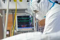 Covidové oddělení jednotky intenzivní péče v Oblastní nemocnici Trutnov.
