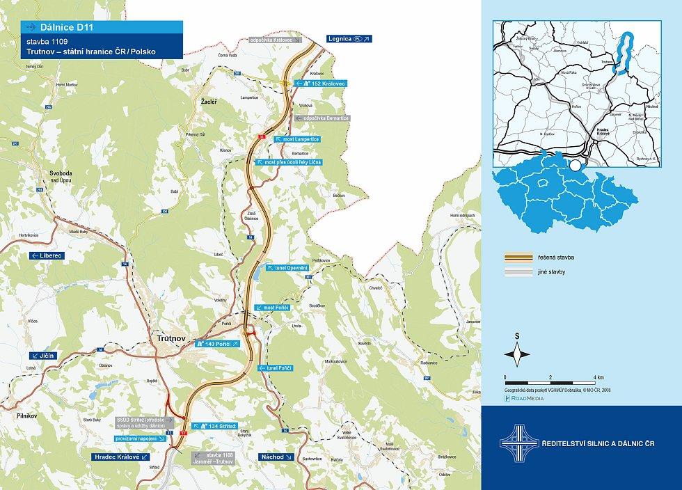 Podle aktuálního vyjádření ŘSD dojde k dálniční stavbě z Trutnova do Královce v letech 2024 až 2027. Na trase vzniknou dva tunely, 25 mostů a 7 protihlukových stěn.