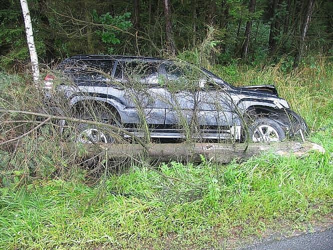 Poslední prázdninový den policisté vyjížděli k obci Mikuleč, kde krátce po poledni havarovala Toyota. Řidič vyjel vlevo, kde narazil s vozidlem do dopravního značení. Poté narazil do kanálové vpusti a do stromu. Kolize se obešla bez zranění.