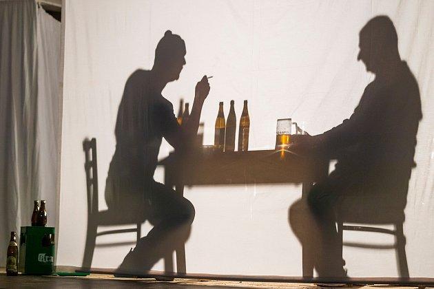 Ďyvadlo Neklid sehrálo vneděli večer na Bojišti Havlovu Audienci jako netradiční stínové představení vrežii Petra Vanžury.