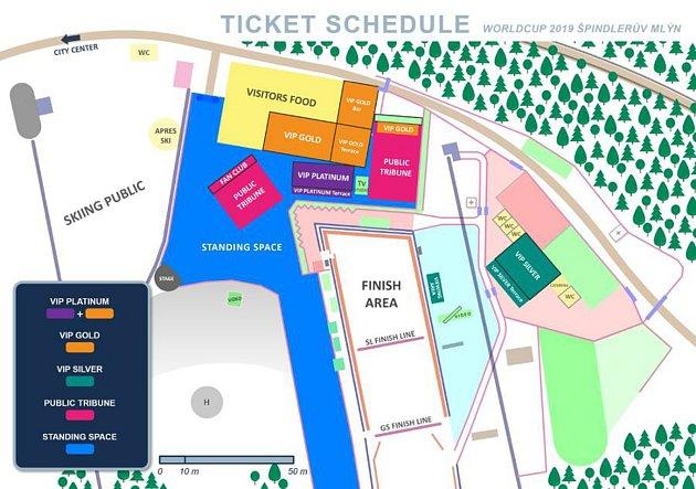 Cílový prostor dvou závodů Světového poháru vlyžařském středisku Svatý Petr ve Špindlerově Mlýně obklopí divácká místa různých kategorií. Kapacita je 13tisíc míst.