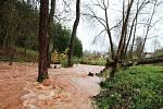 Dnešní vichřice v Horní Kalné na Trutnovsku, kde spadl strom a je rozvodněný Kalenský potok.