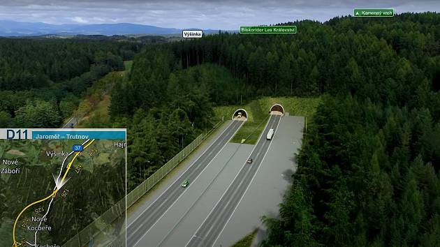 Tunel Kamenný vrch vznikne u Výšinky v lese za motorestem. Levý tubus bude dlouhý 780 metrů, pravý 756 metrů.