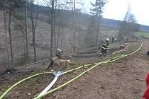 Po těžbě dřeva se vznítila hrabanka, hasiči ji zvládli.