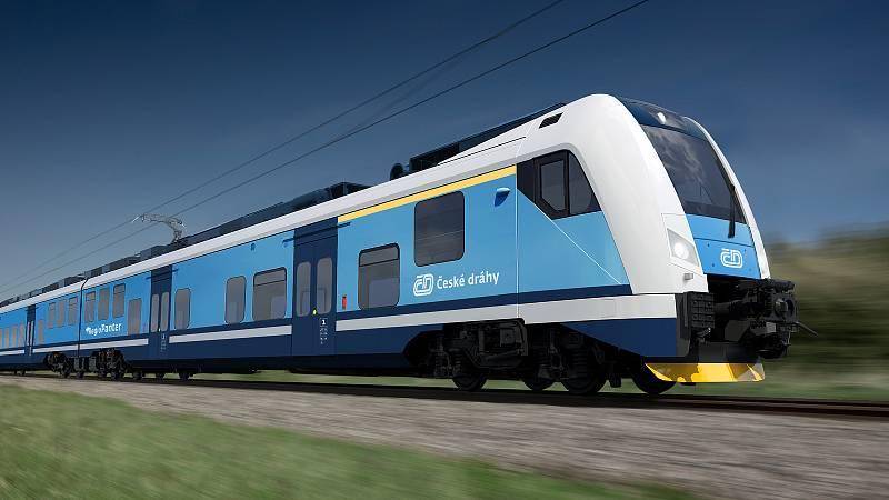 Takové vlaky od českého výrobce Škoda Transportation budou jezdit v Královéhradeckém kraji od roku 2024.