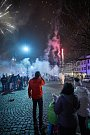 Silvestrovský ohňostroj v Trutnově.