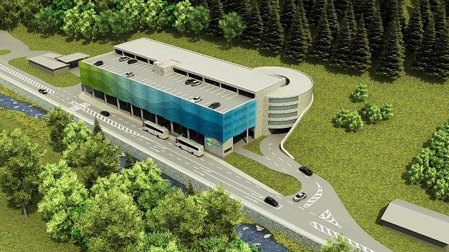 Projekt dopravního terminálu se 457parkovacími místy vPeci pod Sněžkou. Dokončen má být do května 2020.