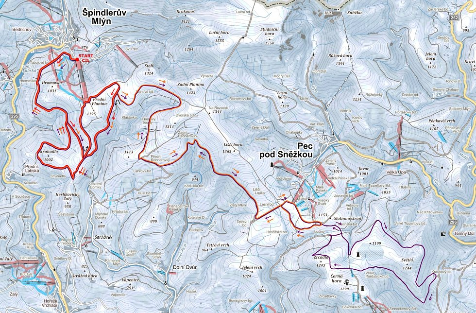 Mapa letošní Krkonošské sedmdesátky.
