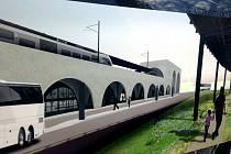 BUDOUCNOST DVORA KRÁLOVÉ? Jedna z architektonických variant nového dopravního terminálu pro železniční a vlakovou dopravu počítá s mimoúrovňovou stavbou.