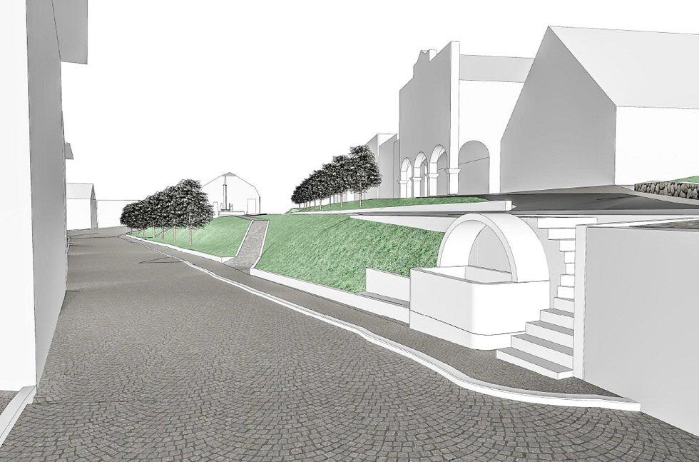 Vizualizace nové podoby Rýchorského náměstí v Žacléři.
