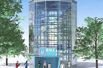 Biketower v Trutnově. Automatické parkovací zařízení pro kola pojme až 118 bicyklů.