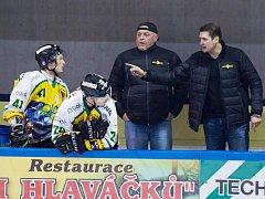 Trenérská lavice hokejistů Dvora Králové, trenér Topol úplně vpravo