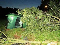Řidič, vydatně posílený alkoholem, narazil ve Starém Rokytníku čelně do stromu.