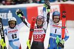 Tři nejlepší slalomářky: Holdenerová, Shiffrinová a Vlhová.