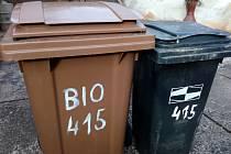 Popelnice v Trutnově. Hnědá na bioodpad, černá na komunální odpad.