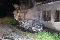 Požár auta v Záhoří