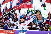 Vítězka obřího slalomu Petra Vlhová. Světový pohár ve Špindlerově Mlýně.