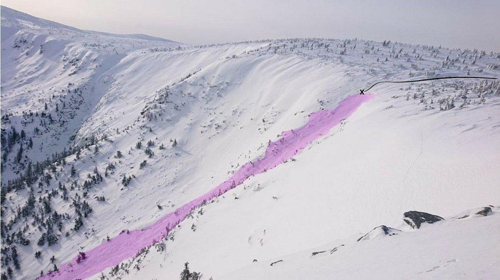 Pohled z druhé strany se zákresem laviny a místa, kde došlo k najetí do žlabu.