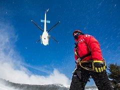 Cvičení profesionálních hasičů v Krkonoších
