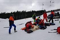 Záchranáři na sjezdovce oživovali lyžaře.