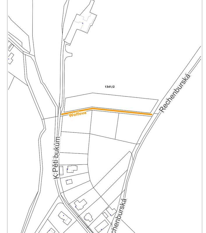 Nákres nové ulice v Trutnově, která se bude jmenovat Wolfova.