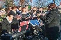 Pěvecký sbor Lipnice při adventním vystoupení ve výrobním družstvu Vánoční ozdoby ve Dvoře Králové nad Labem.
