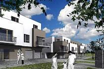 Vizualizace obytných domů navržených pro rekreačně sportovní areál v Maškových zahradách v Turnově.