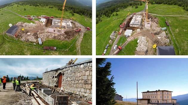 OD ZÁKLADU ZNOVA. Práce na výstavbě nové Petrovy boudy běží, letos mají být hotovy hrubé stavby dvou objektů. Do cílové podoby se má projekt dostat na konci roku 2019.