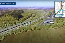 Dálniční odpočívadlo v Bernarticích bude největší, které se staví u českých dálnic. Bude mít benzínku, parkoviště pro kamiony a další vybavení.