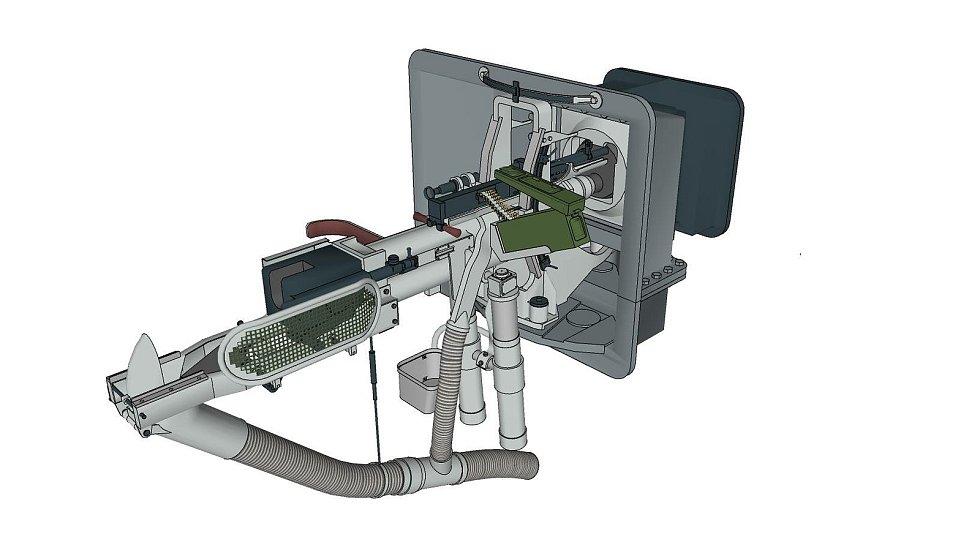 Model střílny s kanónem pro bunkr na Stachelbergu.