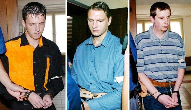 Obžalovaní ze dvojnásobné vraždy. Zleva Tibor Zeman, Pavel Feierfeil, Jiří Salava.