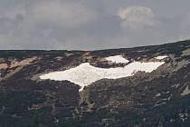 Sněhové pole známé jako Mapa republiky na úbočí Studniční hory (na snímku ze 4. června 2020) ve východních Krkonoších.
