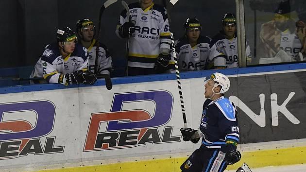 Obrovskou radost projevil Pavel Mrňa chvilku poté, co třetím gólem proti Šumperku odvrátil bodovou ztrátu.