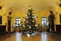 Vánoční strom v zámku ve Vrchlabí.