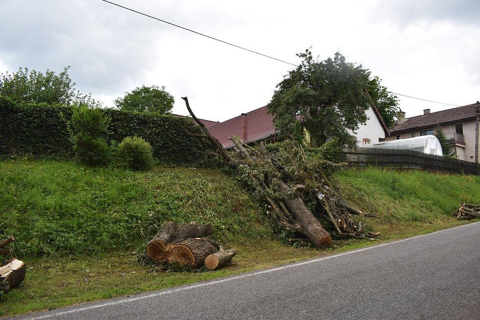 Stále viditelné jsou následky vichřice i v Třebihošti.