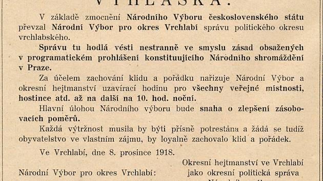 Vyhláška Národního výboru pro okres Vrchlabí z 8. prosince 1918 poté, co převzal správu nad městem a připojilo se k Československu.