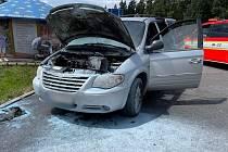 Požár auta v Janských Lázních